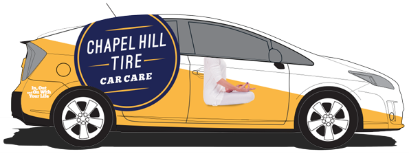 Yellow & Navy Chapel Hill Tire Hybrid Shuttle Design