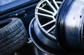 Picture of tires and wheels for an alignment, balance, or rotation