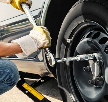 Tire service - fixing a flat tire