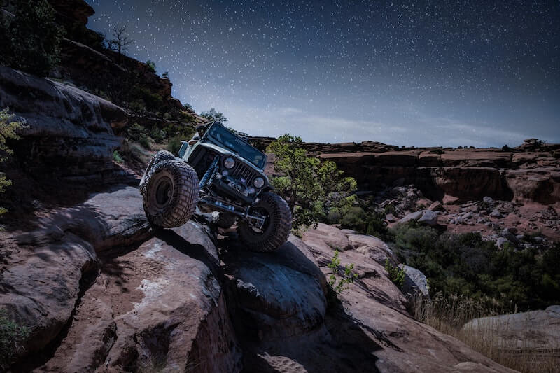 Lifted jeep off-roading