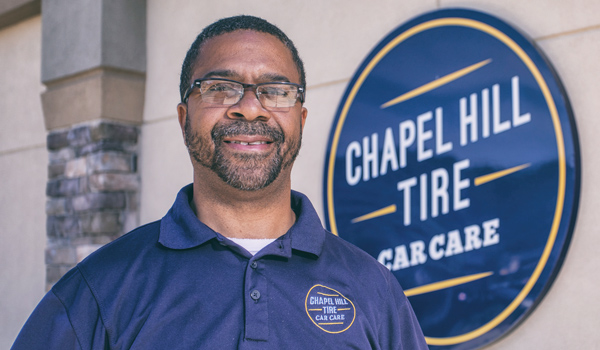 Peter Rozzell, manager at Chapel Hill Tire's Cole Park shop