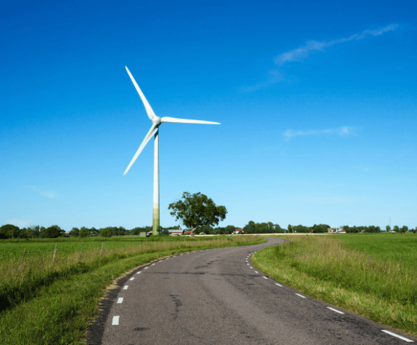 A sustainable road harvesting wind energy