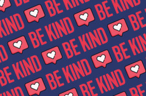 "repeating pattern of ""Be Kind"" in bold letters with a heart social media icon"