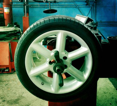 tire balancing at a mechanic