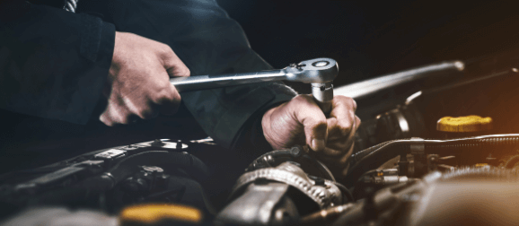 Mechanic completing an in-depth service