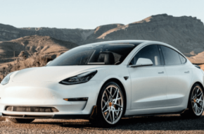 Tesla car against a scenic background