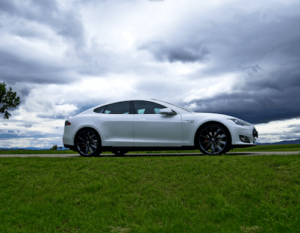 Tesla driving on a field of grass